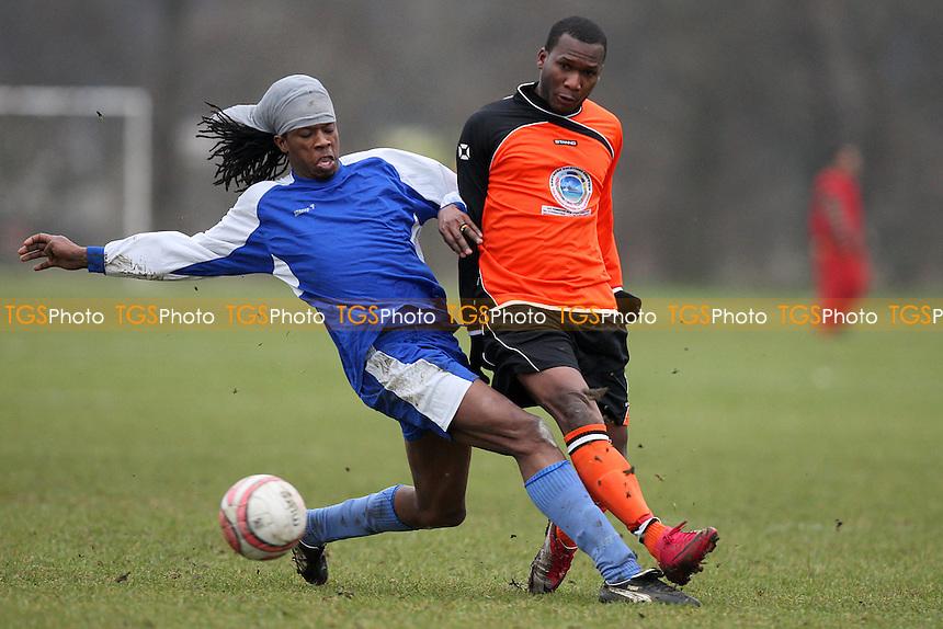 AC Lucia (blue) vs Inter Lucia (orange) - East London Sunday League at South Marsh, Hackney Marshes, London - 23/01/11 - MANDATORY CREDIT: Gavin Ellis/TGSPHOTO - Self billing applies where appropriate - Tel: 0845 094 6026