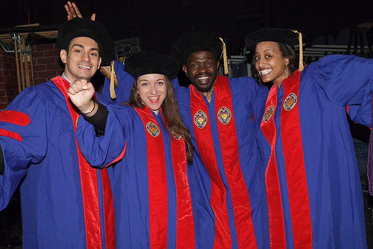 Students congregate backstage before the DePaul University College of Law commencement ceremony, Sunday, May 14, 2017, at the Rosemont Theatre in Rosemont, IL, where some 240 students received their Juris Doctors or Master of Laws degrees. (DePaul University/Arielle Toub)