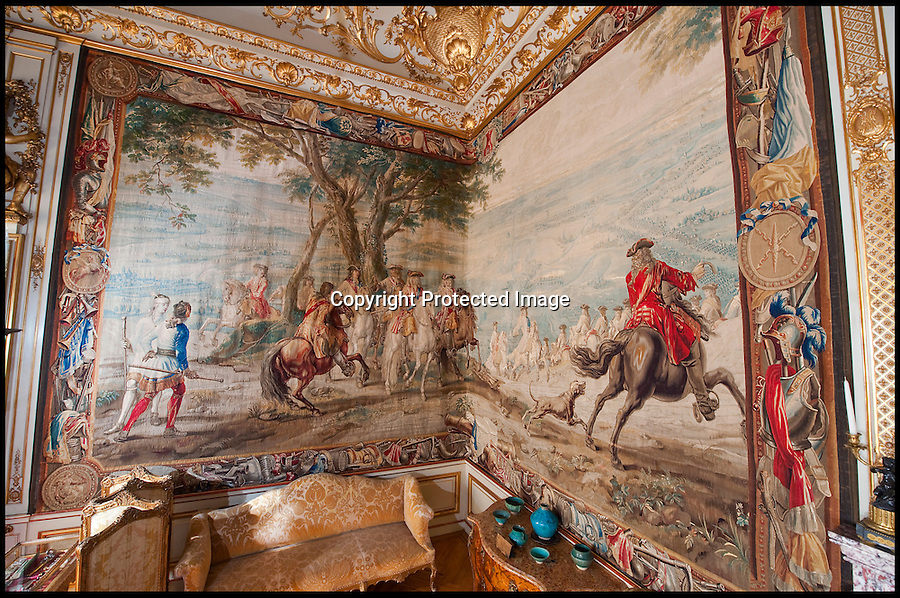 BNPS.co.uk (01202 558833)<br /> Pic: PhilYeomans/BNPS<br /> <br /> A priceless 300-year-old tapestry depicting the 'finest hour' of Winston Churchill's most illustrious ancestor has undergone a major restoration for the first time.<br /> <br /> The Bouchain III tapestry hangs at Blenheim Palace and tells the story of the first Duke of Marlborough's Final victory over the French forces of Louis 14th in the War of the Spanish Succession.<br /> <br /> The Duke, John Churchill, was a brilliant military strategist and, much like Winston Churchill two centuries later, led an Allied force in victory in Europe. <br /> <br /> He considered Bouchain as his 'finest hour' because of his successful assault on a 'impregnable' enemy fortress finally finished the war.<br /> <br /> The outcome of the war is considered a turning point in history, signalling the end of France's ambitions to rule Europe at the time.<br /> <br /> To mark his achievement the Duke commissioned 10 incredibly detailed tapestries to be made. They have been displayed at Blenheim Palace ever since.<br />  <br /> The giant wall hangings, that are 25ft wide and 15ft tall, are made of wool and silk and were woven in the Brussels workshop of the Flemish weaver, Judocus de Vos.