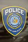 Metropolitan Transportation Authority MTA blue shield sticker on window of MTA Police office at Merrick train station of Babylon branch, after MTA Metropolitan Transit Authority and Long Island Rail Road union talks deadlock, with potential LIRR strike looming just days ahead.