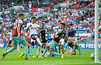 Tottenham's Dele Alli scoring first goal for Spurs during the Premier League match between Tottenham Hotspur and Burnley at White Hart Lane, London, England on 27 August 2017. Photo by Andrew Aleksiejczuk / PRiME Media Images.