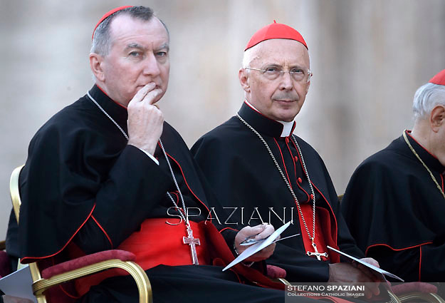 Cardinal Pietro Parolin.Cardinal Angelo Bagnasco.Pope Francis vigil prayer in preparation for the Synod on the Family at St Peter's square at the Vaticann.October 4, 2014