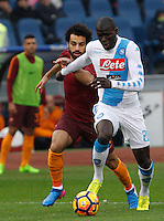 Napoli's Kalidou Koulibaly, right, is challenged by Roma&rsquo;s Mohamed Salah during the Italian Serie A football match between Roma and Napoli at Rome's Olympic stadium, 4 March 2017. <br /> UPDATE IMAGES PRESS/Riccardo De Luca