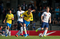 Yunus Musah (Valencia) of England U18 fouls Luan Patrick Wiedthauper of Brazil during the Under 18 International friendly match between England U18 & Brazil U18 at Hednesford Town Football Club, Keys Park, Cannock on 8 September 2019. Photo by Andy Rowland.