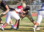 Palos Verdes, CA 10/27/17 - unidentified Peninsula player(s)in action during the Morningside Monarchs - Palos Verdes Peninsula Varsity football game at Peninsula High School.