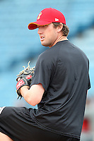 Nashville Sounds pitcher Josh Butler #31 during a pre-game workout before a game against the Omaha Storm Chasers at Greer Stadium on April 26, 2011 in Nashville, Tennessee.  The game was cancelled due to rain.  Photo By Mike Janes/Four Seam Images