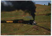 C&amp;TS #497 with a simulated freight train climbing toward Cumbres Pass in the Wolf Creek Valley.<br /> C&amp;TS  Wolf Creek Valley, NM  Taken by Dorman, Richard L.