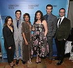 """Sas Goldberg, Gideon Glick, Rebecca Naomi Jones, Lindsay Mendez, John Behlmann and Luke Smith attend the Broadway Opening Night performance after party for """"Significant Other"""" at the Redeye Grill on March 2, 2017 in New York City."""