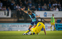 Sam Saunders of Wycombe Wanderers & George Francomb of AFC Wimbledon battle during the Friendly match between Wycombe Wanderers and AFC Wimbledon at Adams Park, High Wycombe, England on 25 July 2017. Photo by Andy Rowland.
