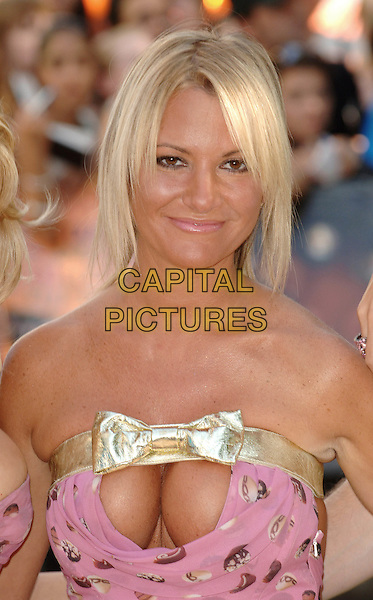 ALEX BEST.Charlie And The Chocolate Factory Premiere,.Odeon Cinema, Leicester Square, .london, 18th July 2005.portrait headshot pink sweet dress Scott Henshall gold bow cleavage.www.capitalpictures.com.sales@capitalpictures.com.©Capital Pictures.