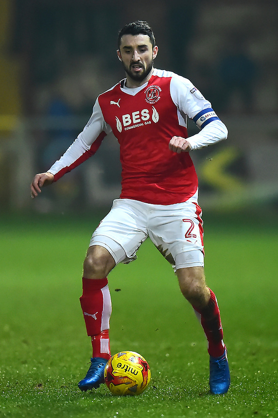 Fleetwood Town's Conor McLaughlin in action<br /> <br /> Photographer Richard Martin-Roberts/CameraSport<br /> <br /> The EFL Sky Bet League One - Fleetwood Town v Bradford City - Tuesday 14th February 2017 - Highbury Stadium - Fleetwood<br /> <br /> World Copyright &copy; 2017 CameraSport. All rights reserved. 43 Linden Ave. Countesthorpe. Leicester. England. LE8 5PG - Tel: +44 (0) 116 277 4147 - admin@camerasport.com - www.camerasport.com
