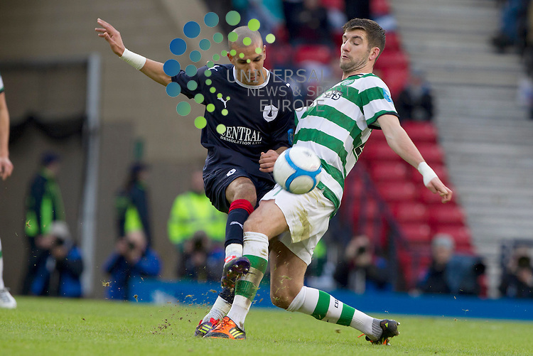 Farid El Alagui goes for Charlie Mulgrew of Celtic during the Scottish Communities League cup semi - final Falkirk FC v Celtic F.C, at Hampden park..Picture: Maurice McDonald/Universal News And Sport (Scotland). 29 January 2012. www.unpixs.com.