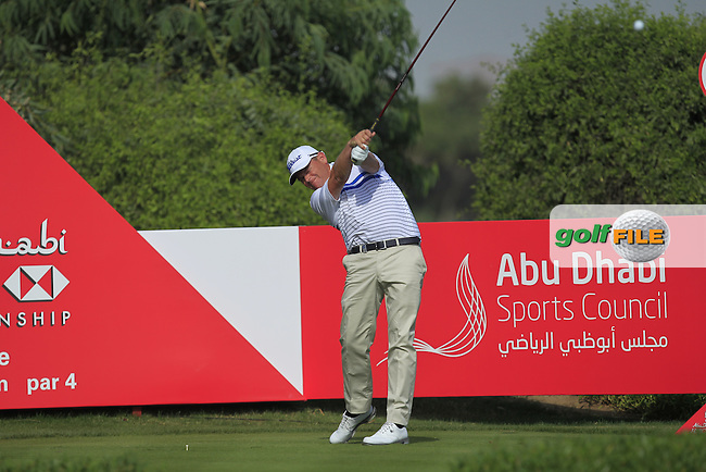 David Drysdale (SCO) on the 6th tee during Round 4 of the Abu Dhabi HSBC Championship on Sunday 22nd January 2017.<br /> Picture:  Thos Caffrey / Golffile<br /> <br /> All photo usage must carry mandatory copyright credit     (&copy; Golffile | Thos Caffrey)