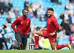 Liverpool's Alex Oxlade-Chamberlain warms up with Daniel Sturridge during the premier league match at the Etihad Stadium, Manchester. Picture date 9th September 2017. Picture credit should read: David Klein/Sportimage