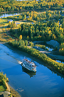 Aerial, Riverboat Discovery on the Chena River in Fairbanks.