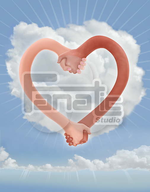 Illustrative image of hands in heart shape representing bonding of couple