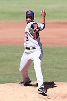 Jose Cisnero #18 of the Lancaster JetHawks pitches against the High Desert Mavericks at Mavericks Stadium in Adelanto,California on May 30, 2011. Photo by Larry Goren/Four Seam Images