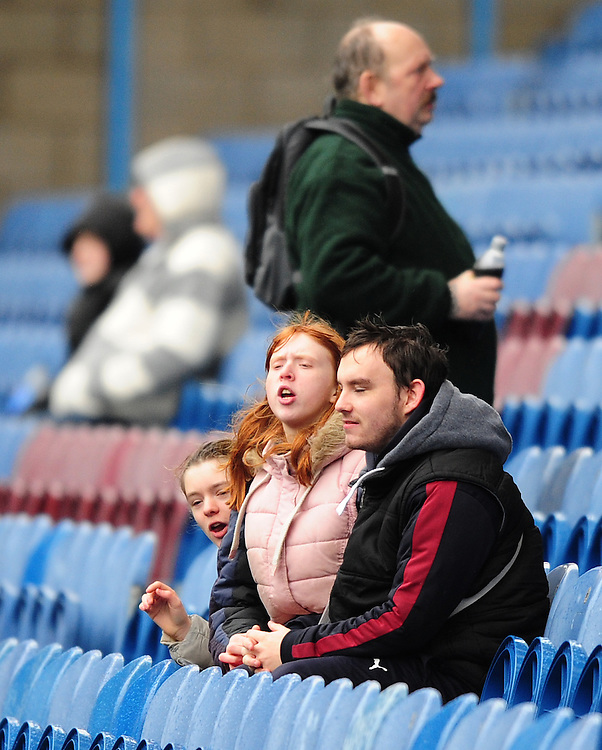 Burnley fans during the pre-match warm-up <br /> <br /> Photographer Chris Vaughan/CameraSport<br /> <br /> Football - The Football League Sky Bet Championship - Burnley v Hull City - Saturday 6th February 2016 - Turf Moor - Burnley <br /> <br /> &copy; CameraSport - 43 Linden Ave. Countesthorpe. Leicester. England. LE8 5PG - Tel: +44 (0) 116 277 4147 - admin@camerasport.com - www.camerasport.com