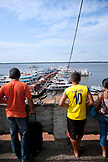 BRAZIL, Manaus, boats parked along the Amazon River, bringing fish and produce to sell at the Manaus market