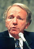 Washington, DC -- United States Senator Joseph I. Lieberman (Democrat of Connecticut) is a member of the U.S. Senate Governmental Affairs Committee investigating alleged abuses in campaign funding in 1996 on July 8, 1997. .Credit: Ron Sachs / CNP