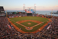 SAN FRANCISCO, CA - JULY 27:  General overall interior scenic view with clouds at sunset during the game between the Los Angeles Dodgers and San Francisco Giants at AT&T Park on Sunday, July 27, 2014 in San Francisco, California. (Photo by Brad Mangin)