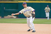April 27, 2008: University of Washington second baseman Brad Boyer makes a snap sidearm throw to first base during a Pac-10 game against UCLA at Husky Ballpark in Seattle, Washington.