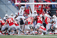 Ohio State Buckeyes place kicker Jack Willoughby (98) scores a field goal in the second quarter of the college football game between the Ohio State Buckeyes and the Northern Illinois Huskies at Ohio Stadium in Columbus, Saturday afternoon, September 19, 2015. The Ohio State Buckeyes defeated the Northern Illinois Huskies 20 - 13. (The Columbus Dispatch / Eamon Queeney)