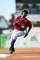 Mahoning Valley Scrappers center fielder Gabriel Mejia (1) running the bases during the first game of a doubleheader against the Batavia Muckdogs on August 17, 2016 at Dwyer Stadium in Batavia, New York.  Mahoning Valley defeated Batavia 10-3.  (Mike Janes/Four Seam Images)