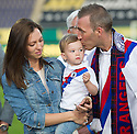 Fernando Ricksen Testimonial :  A tearful Fernando Ricksen with his wife Veronica and daughter Isabella.