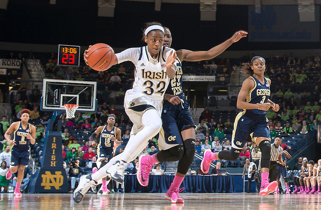 Feb. 17, 2014; Jewel Loyd (32) dribbles as Georgia Tech Yellow Jackets guard Syndey Wallace (23) defends in the second half at the Purcell Pavilion.<br /> <br /> Photo by Matt Cashore