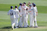 Sam Cook of Essex celebrates with his team mates after taking the wicket of Steven Mullaney during Essex CCC vs Nottinghamshire CCC, Specsavers County Championship Division 1 Cricket at The Cloudfm County Ground on 14th May 2019