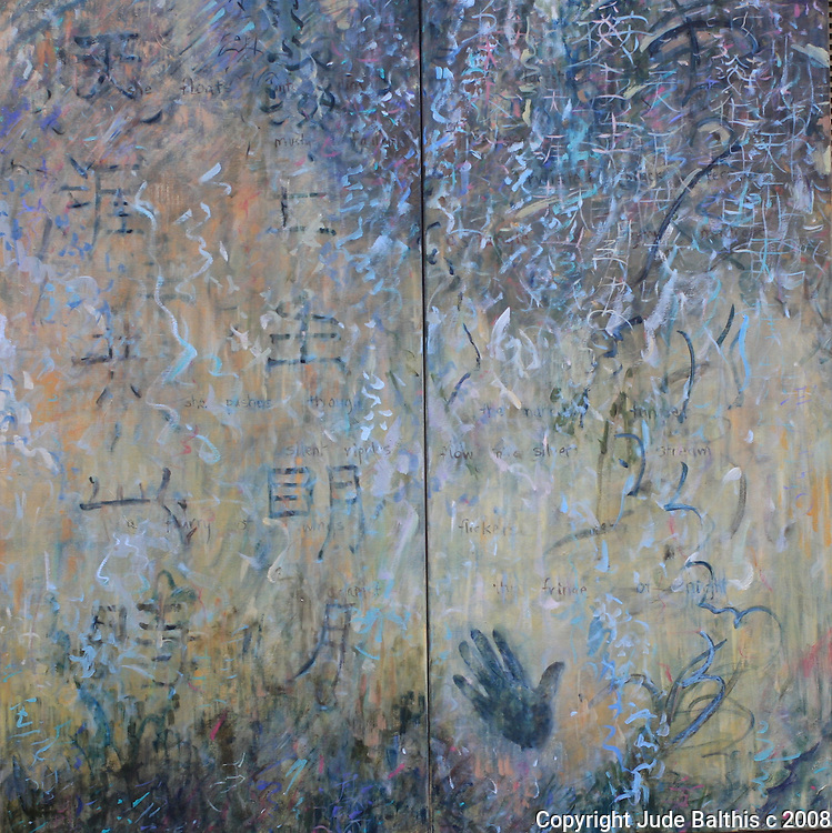 "Oil painting and poem on canvas by Jude Balthis. Departure. Diptych. 48"" x 48"""