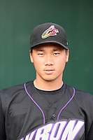 Chen-Chang Lee #12 of the Akron Aeros poses before a game against the Harrisburg Senators at Metro Bank Park on June 10, 2011 in Harrisburg, Pennsylvania.   ..Photo By Bill Mitchell/Four Seam Images