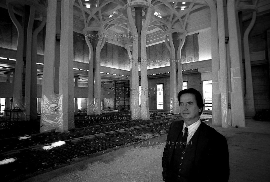 Roma Ottobre 1989.La Grande  Moschea di Roma,i lavori di costruzione della Moschea.<br />