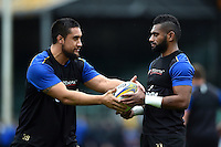 Leroy Houston and Niko Matawalu of Bath Rugby. Bath Rugby Captain's Run on October 30, 2015 at the Recreation Ground in Bath, England. Photo by: Patrick Khachfe / Onside Images