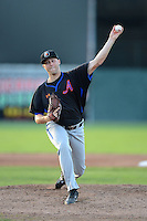 Aberdeen Ironbirds pitcher Mitch Horacek (32) during a game against the Batavia Muckdogs on August 10, 2013 at Dwyer Stadium in Batavia, New York.  Batavia defeated Aberdeen 1-0.  (Mike Janes/Four Seam Images)