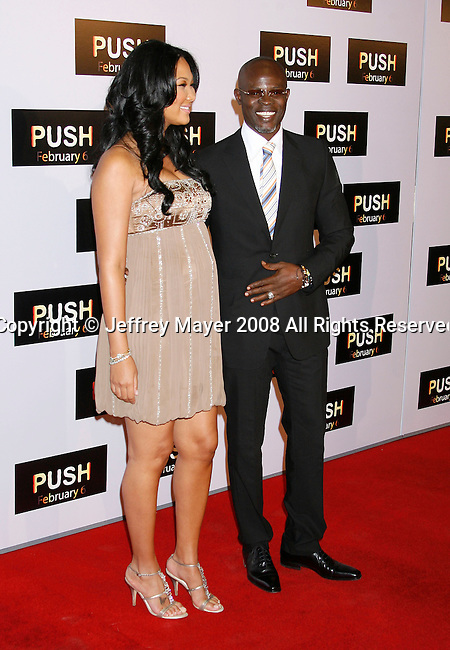 "WESTWOOD, CA. - January 29: Actors Kimora Lee and Djimon Hounsou arrive at the Los Angeles Premiere of ""Push"" at the Mann Village Theater on January 29, 2009 in Westwood, California."