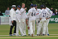 Simon Harmer of Essex celebrates with his team mates after taking the wicket of Joe Leach during Worcestershire CCC vs Essex CCC, Specsavers County Championship Division 1 Cricket at Blackfinch New Road on 12th May 2018
