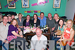Flynn Birthday Party:Johnny Flynn, Kilmorna, fourth from right, celebrating his 40th birthday bash at the Kingdom Bar , Listowel on Saturday. L-R; John Connor, Timmy Leahy, Bridget O'Connor, Nora Power, Marie Leahy, Cathy O,Connor, John Leahy, Johnny Flynn, Joan Ryan, Mary Flynn & Catherine Galvin. Front: Liam Power.
