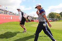 Brooks Koepka US Team makes his way to the 10th tee during Thursday's Practice Day of the 41st RyderCup held at Hazeltine National Golf Club, Chaska, Minnesota, USA. 29th September 2016.<br /> Picture: Eoin Clarke | Golffile<br /> <br /> <br /> All photos usage must carry mandatory copyright credit (&copy; Golffile | Eoin Clarke)