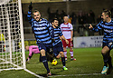 Forfar's Martyn Fotheringham (14) celebrates with Stephen Husband (8) after he scores their second goal.