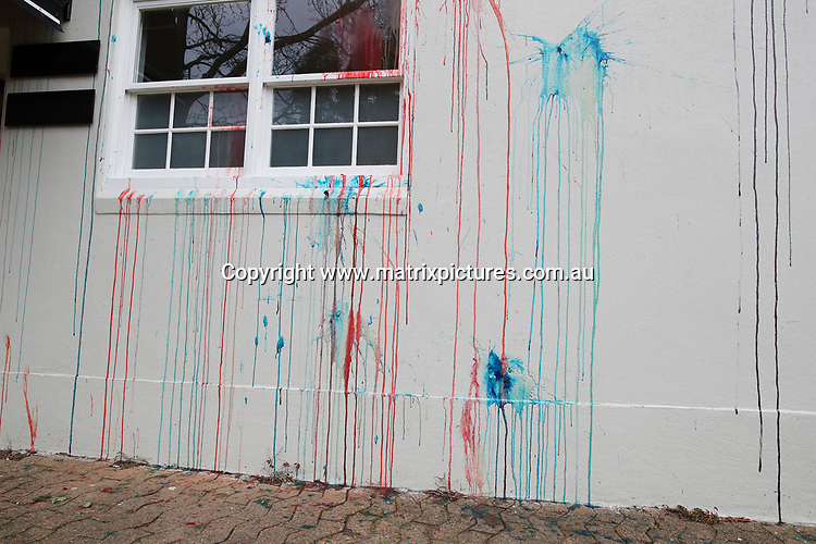 14 JULY 2017 SYDNEY AUSTRALIA<br /> WWW.MATRIXPICTURES.COM.AU<br /> <br /> EXCLUSIVE PICTURES<br /> <br /> Roxy Jacenko's Paddington office vandalised with coloured paint and egg. Roxy Jacenko is pictured on site with Police. <br /> <br /> Note: All editorial images subject to the following: For editorial use only. Additional clearance required for commercial, wireless, internet or promotional use.Images may not be altered or modified. Matrix Media Group makes no representations or warranties regarding names, trademarks or logos appearing in the images.
