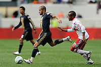 Fred (7) of the Philadelphia Union is cahsed by Dane Richards (19) of the New York Red Bulls. The New York Red Bulls defeated the Philadelphia Union 2-1 during a Major League Soccer (MLS) match at Red Bull Arena in Harrison, NJ, on April 24, 2010.