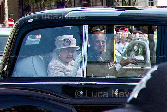 Her Majesty the Queen Elizabeth II &amp; the Duke of Edinburgh.<br /> <br /> London, 15/08/2015. Today, the 70th Anniversary of the VJ Day (Victory over Japan Day - also known as Victory in the Pacific Day, V-J Day, or V-P Day - is the day on which Japan surrendered in World War II, in effect ending the II World War) was marked in Central London. The Commemoration started with a Saturday's service at St Martin-in-the-Fields church in Trafalgar Square attended by Her Majesty the Queen Elizabeth II (accompanied by The Duke of Edinburgh, The Earl and Countess of Wessex, and The Duke and Duchess of Gloucester), followed by a memorial ceremony at Horse Guard Parade, and finally veterans, war widows and members of their families marched in Whitehall praying and paying their tribute laying wreaths at the Cenotaph.<br /> <br /> For more information please click here: http://bit.ly/1LsUeyQ