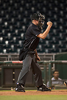 Home plate umpire Benjamin Engstrand calls a strike during an Arizona League game between the AZL White Sox and the AZL Indians 1 at Goodyear Ballpark on June 20, 2018 in Goodyear, Arizona. AZL Indians 1 defeated AZL White Sox 8-7. (Zachary Lucy/Four Seam Images)