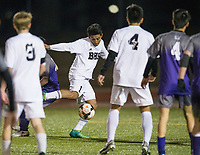 NWA Democrat-Gazette/BEN GOFF @NWABENGOFF<br /> Harrison Kitson (1) of Bentonville takes a shot against Fayetteville Tuesday, March 13, 2018, during the match at Bentonville's Tiger Athletic Complex.