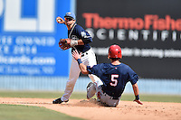 Asheville Tourists shortstop Scotty Burcham (10) fields the ball and makes the turn on a double play over a hard sliding Tyler Beckwith (5) during a game against the Hagerstown Suns and the  at McCormick Field on September 5, 2016 in Asheville, North Carolina. The Suns defeated the Tourists 9-5. (Tony Farlow/Four Seam Images)