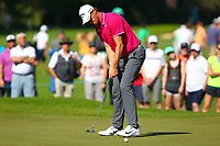 Thomas Pieters sinks his putt on the 5th green during the BMW PGA Golf Championship at Wentworth Golf Course, Wentworth Drive, Virginia Water, England on 26 May 2017. Photo by Steve McCarthy/PRiME Media Images.
