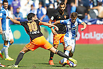 CD Leganes' Alexander Szymanowski (r) and Valencia CF's Daniel Parejo during La Liga match. September 25,2016. (ALTERPHOTOS/Acero)