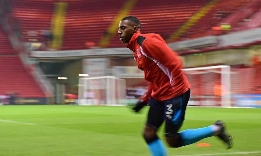 Fleetwood Town's Amari'i Bell during the pre-match warm-up <br /> <br /> Photographer Chris Vaughan/CameraSport<br /> <br /> The EFL Sky Bet League One - Sheffield United v Fleetwood Town - Tuesday 24th January 2017 - Bramall Lane - Sheffield<br /> <br /> World Copyright &copy; 2017 CameraSport. All rights reserved. 43 Linden Ave. Countesthorpe. Leicester. England. LE8 5PG - Tel: +44 (0) 116 277 4147 - admin@camerasport.com - www.camerasport.com